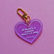 If There's a Woman, There's a Way Heart Keychain
