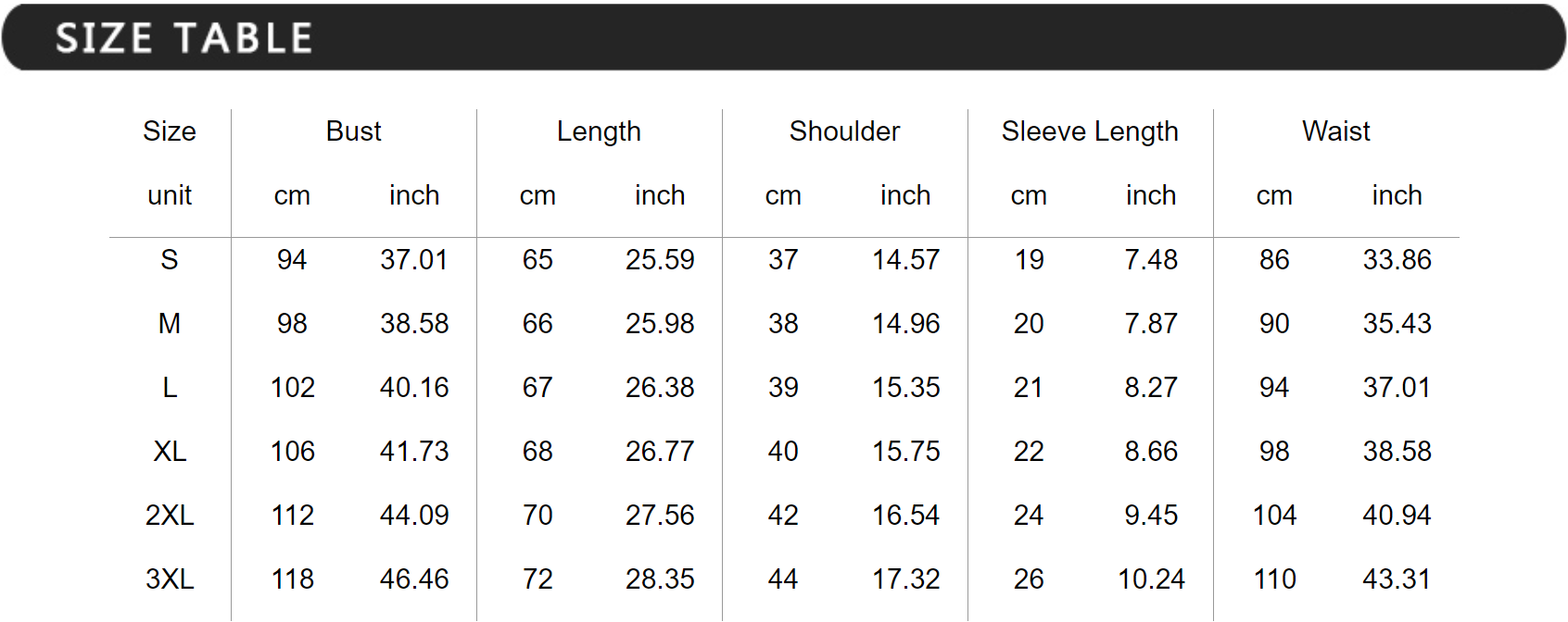 Inspire Uplift - T-Shirt Size Table