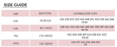 Seamless Magic Wireless Lift Bra Size Chart