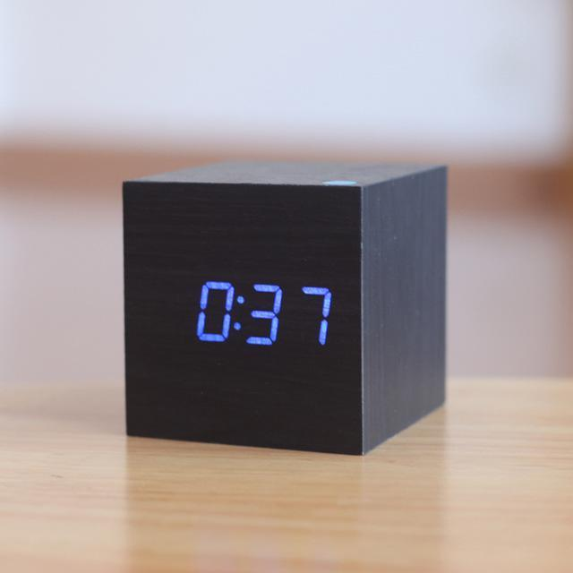 Inspire Uplift Black/Blue Light Modern Digital Wood Clock