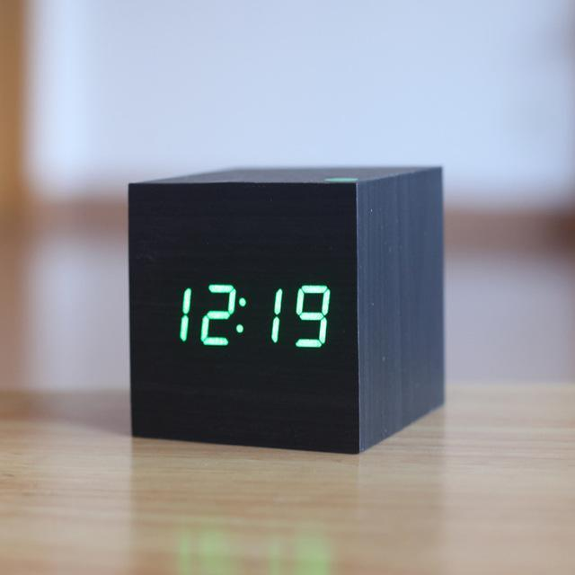 Inspire Uplift Black/Green Light Modern Digital Wood Clock
