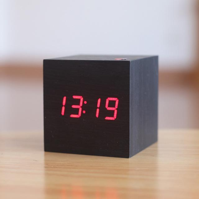 Inspire Uplift Black/Red Light Modern Digital Wood Clock