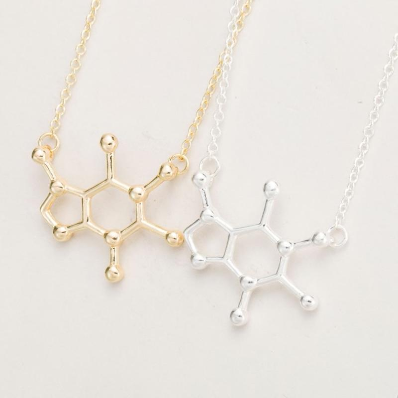 Inspire Uplift Caffeine Molecule Necklace Gold Plated Caffeine Molecule Necklace
