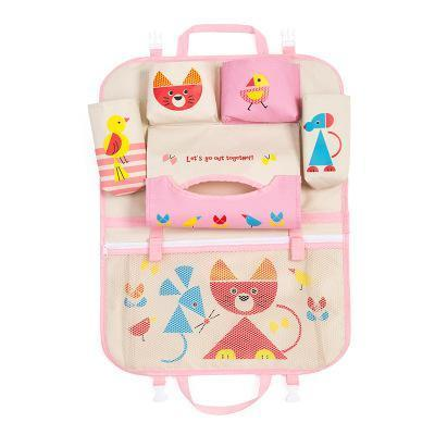 Inspire Uplift Car Organizer Pink/Cat Kids Car Seat Storage Organizer