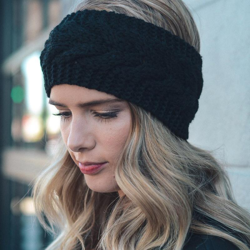 Inspire Uplift Clothes Black Knitted Ear Warmer Headwrap