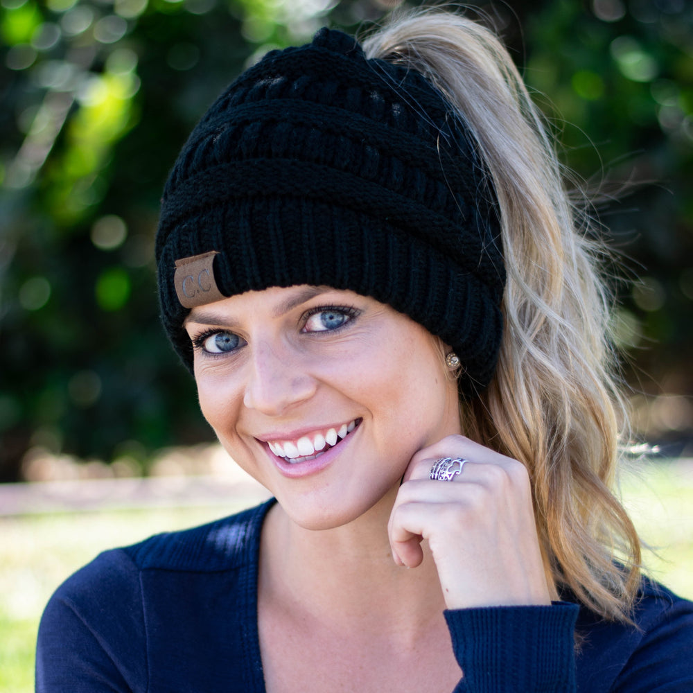 ... Inspire Uplift Clothes Black Soft Knit Ponytail Beanie ... 98883afafd7