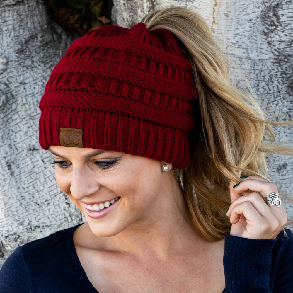 ... Inspire Uplift Clothes Red Soft Knit Ponytail Beanie ... 2f38fc768843