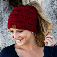 Inspire Uplift Clothes Red Soft Knit Ponytail Beanie
