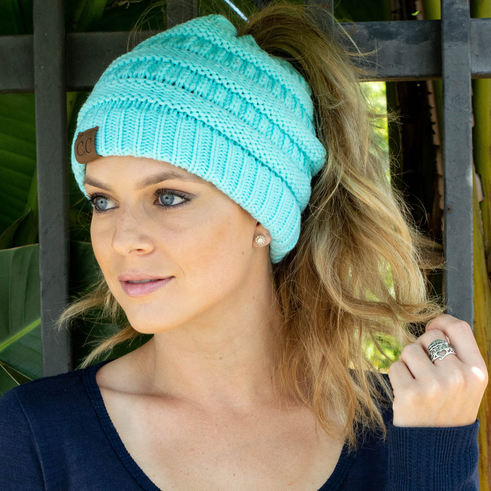 ... Inspire Uplift Clothes Soft Knit Ponytail Beanie ... 3157356c0878