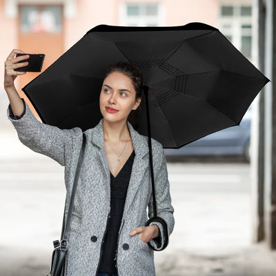 Inspire Uplift Double Layer Reverse Umbrella Black Double Layer Reverse Umbrella