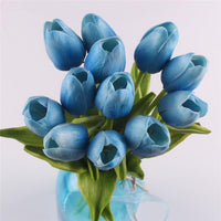 Inspire Uplift Faux Flowers Blue 12 Real Touch Tulip Bouquet