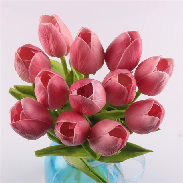 Inspire Uplift Faux Flowers Blush 12 Real Touch Tulip Bouquet