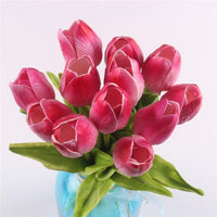 Inspire Uplift Faux Flowers Dark Pink 12 Real Touch Tulip Bouquet