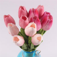 Inspire Uplift Faux Flowers Mix of Pink Shades 12 Real Touch Tulip Bouquet