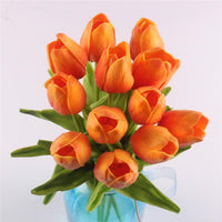 Inspire Uplift Faux Flowers Orange 12 Real Touch Tulip Bouquet