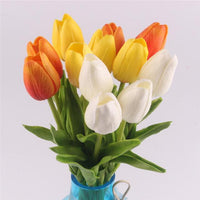 Inspire Uplift Faux Flowers Orange, white and yellow 12 Real Touch Tulip Bouquet
