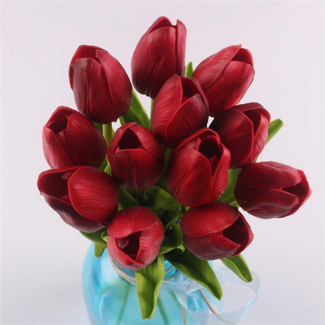Inspire Uplift Faux Flowers Red 12 Real Touch Tulip Bouquet