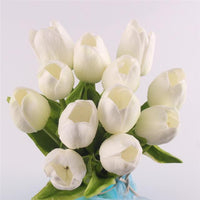 Inspire Uplift Faux Flowers White 12 Real Touch Tulip Bouquet
