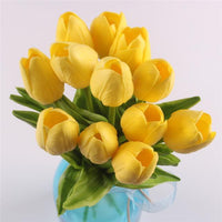 Inspire Uplift Faux Flowers Yellow 12 Real Touch Tulip Bouquet
