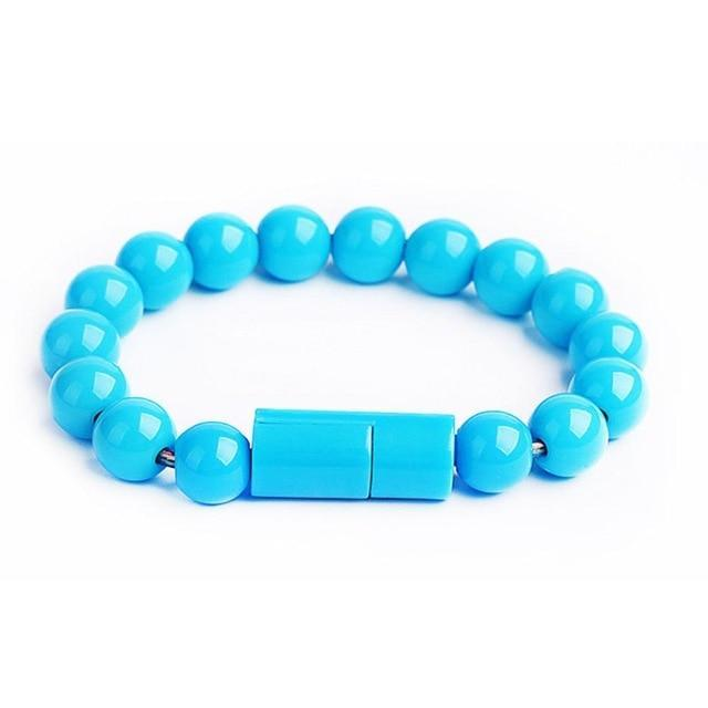 Inspire Uplift for iPhone / Light Blue Beaded Charging Bracelet