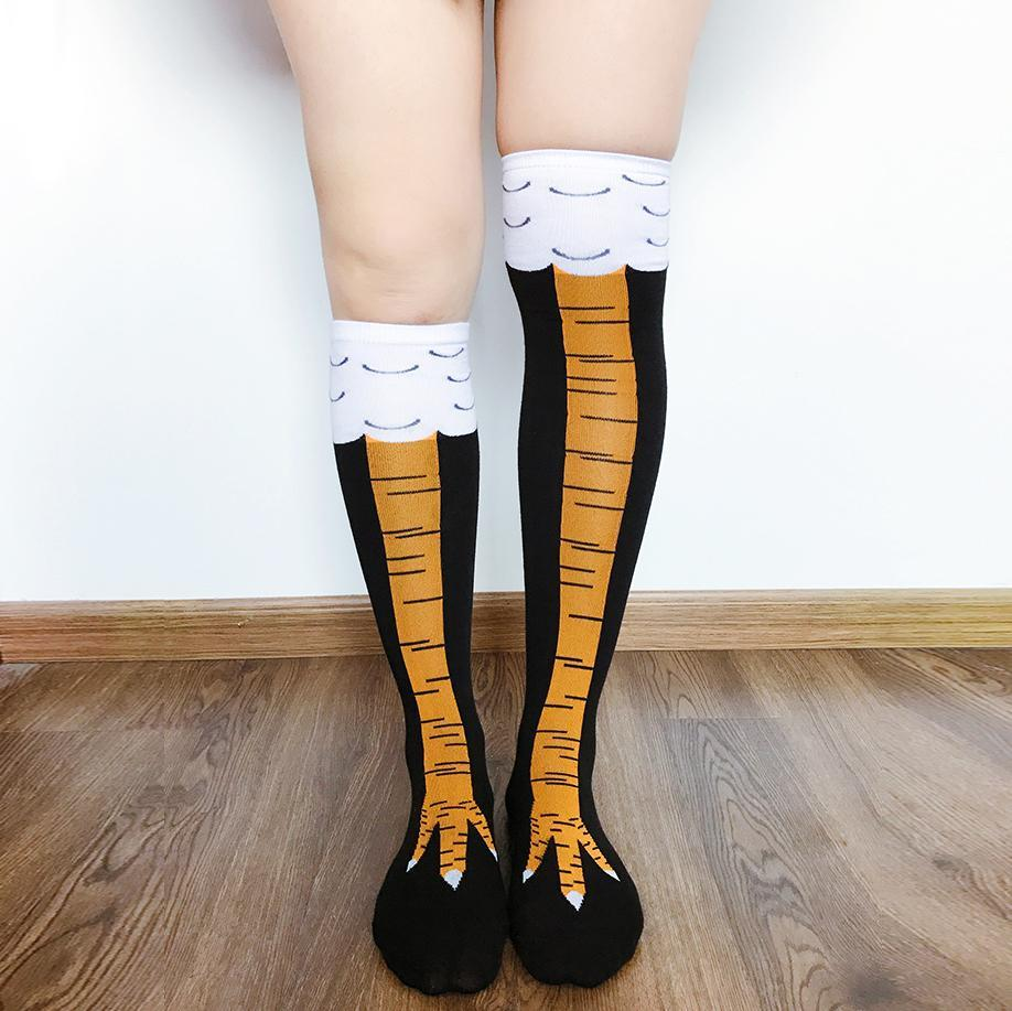 Inspire Uplift Funny Chicken Feet Socks Unisex Above Knee Length Funny Chicken Feet Socks Unisex