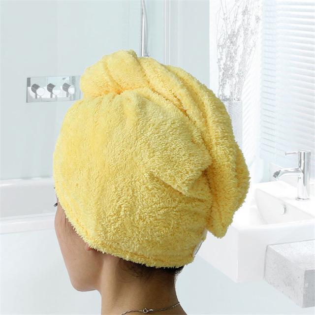 Inspire Uplift Hair Towel Yellow Comfy Quick Dry Hair Towel