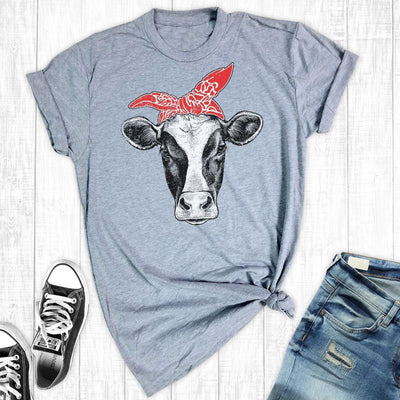 Inspire Uplift Hipster Cow T-Shirt L / Red Bandana Hipster Cow T-Shirt