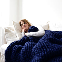 Inspire Uplift Home & Kitchen 40x47 Inches / Midnight Blue Handmade Chunky Knit Blanket
