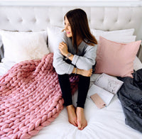 Inspire Uplift Home & Kitchen 40x47 Inches / Pink Handmade Chunky Knit Blanket