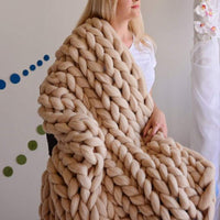 Inspire Uplift Home & Kitchen 79x79 Inches / Khaki Handmade Chunky Knit Blanket
