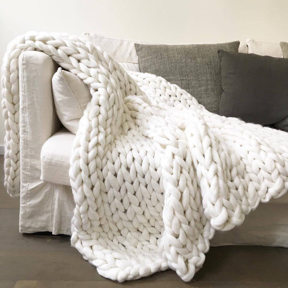 Inspire Uplift Home & Kitchen 79x79 Inches / White Handmade Chunky Knit Blanket