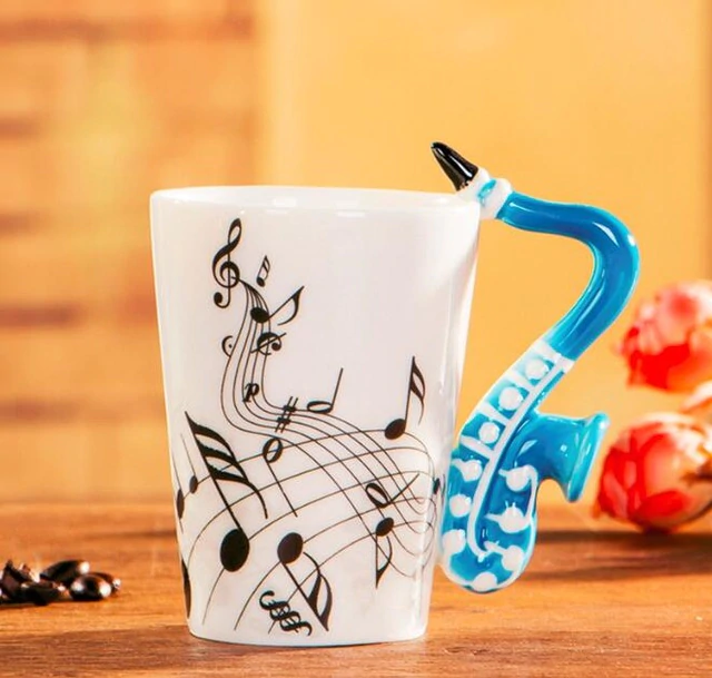 Inspire Uplift Home & Kitchen Blue Saxophone Novelty Guitar Ceramic Mug