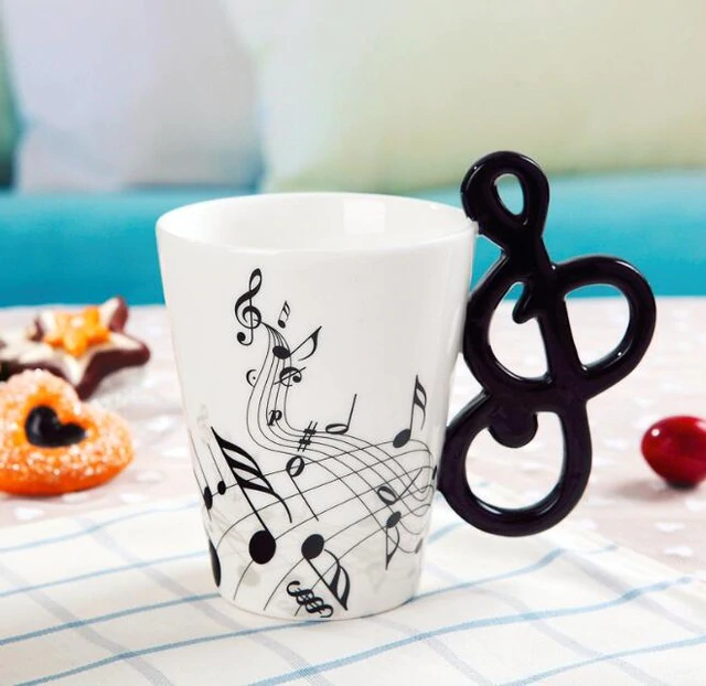 Inspire Uplift Home & Kitchen Music Note Novelty Guitar Ceramic Mug
