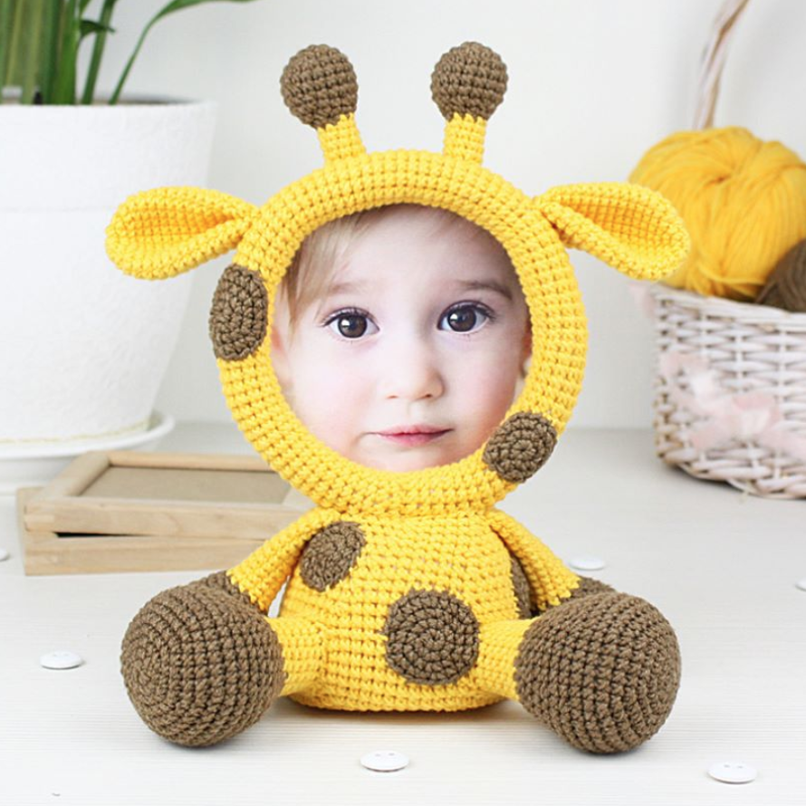 Inspire Uplift Knitted Animals Photo Frame Giraffe Crochet Animals Photo Frame