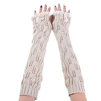 Inspire Uplift Knitted Fingerless Texting Gloves Beige Knitted Fingerless Texting Gloves