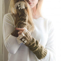 Inspire Uplift Knitted Fingerless Texting Gloves Brown Knitted Fingerless Texting Gloves