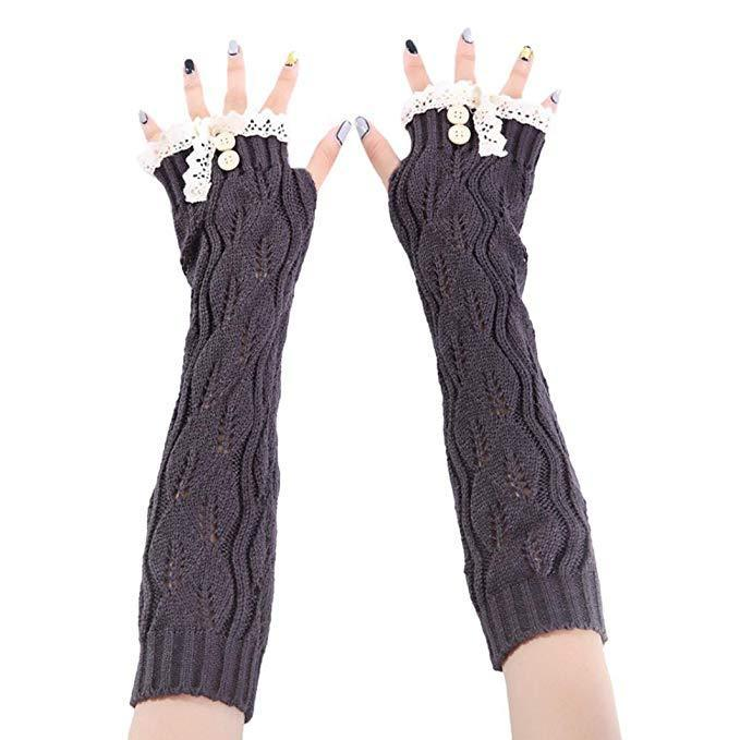 Inspire Uplift Knitted Fingerless Texting Gloves Dark Grey Knitted Fingerless Texting Gloves