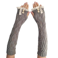 Inspire Uplift Knitted Fingerless Texting Gloves Gray Knitted Fingerless Texting Gloves