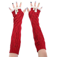 Inspire Uplift Knitted Fingerless Texting Gloves Red Knitted Fingerless Texting Gloves