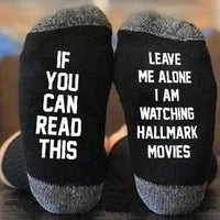 Inspire Uplift Leave Me Alone I Am Watching Hallmark Movies Socks Black & White Hallmark Movies Socks