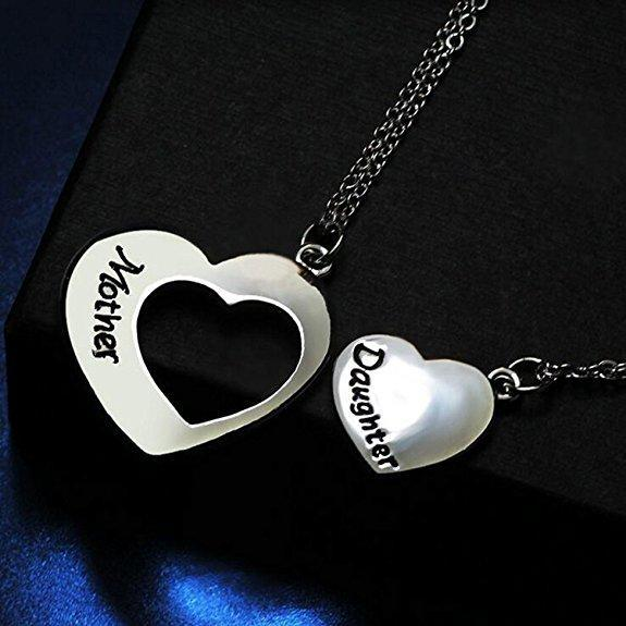 Inspire Uplift Mother Daughter Necklace Set of 2 Matching Heart Mom and Me Jewelry