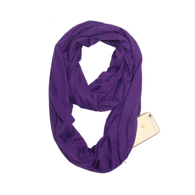 Inspire Uplift Multi-Way Infinity Scarf with Pocket Purple Multi-Way Infinity Scarf with Pocket
