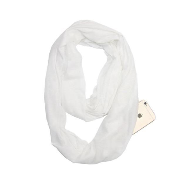 Inspire Uplift Multi-Way Infinity Scarf with Pocket White Anti Theft Scarf with Pocket