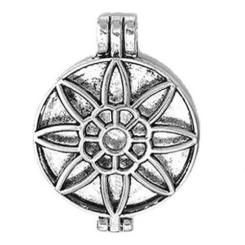 "Inspire Uplift Necklace Daisy Silver / 31""/70cm Antique Oil Diffuser Necklace"