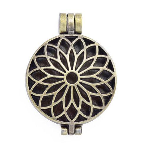 "Inspire Uplift Necklace Lotus Gold / 31""/70cm Antique Oil Diffuser Necklace"