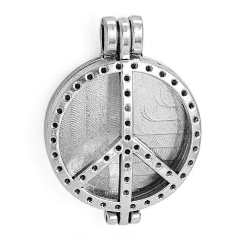 "Inspire Uplift Necklace Peace & Love Silver / 31""/70cm Antique Oil Diffuser Necklace"