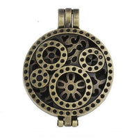 "Inspire Uplift Necklace Steampunk Gold / 31""/70cm Antique Oil Diffuser Necklace"