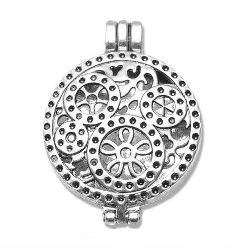 "Inspire Uplift Necklace Steampunk Silver / 31""/70cm Antique Oil Diffuser Necklace"