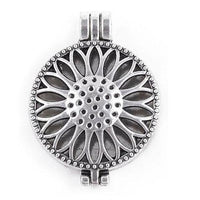 "Inspire Uplift Necklace Sunflower Silver / 31""/70cm Antique Oil Diffuser Necklace"