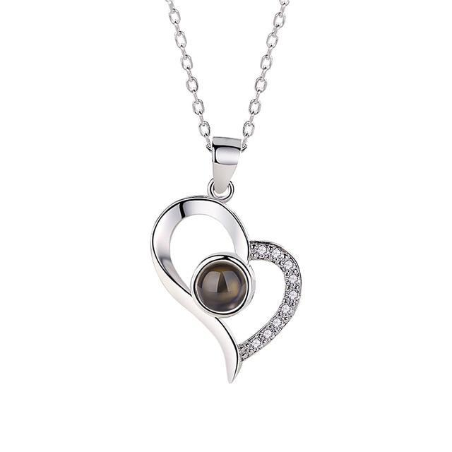 Inspire Uplift new silver heart / 40cm Hidden Message Lovers Necklace